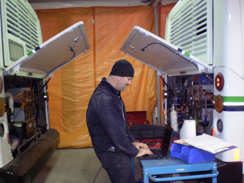 Fuel cell bus maintenance on Ballard's New Flyer